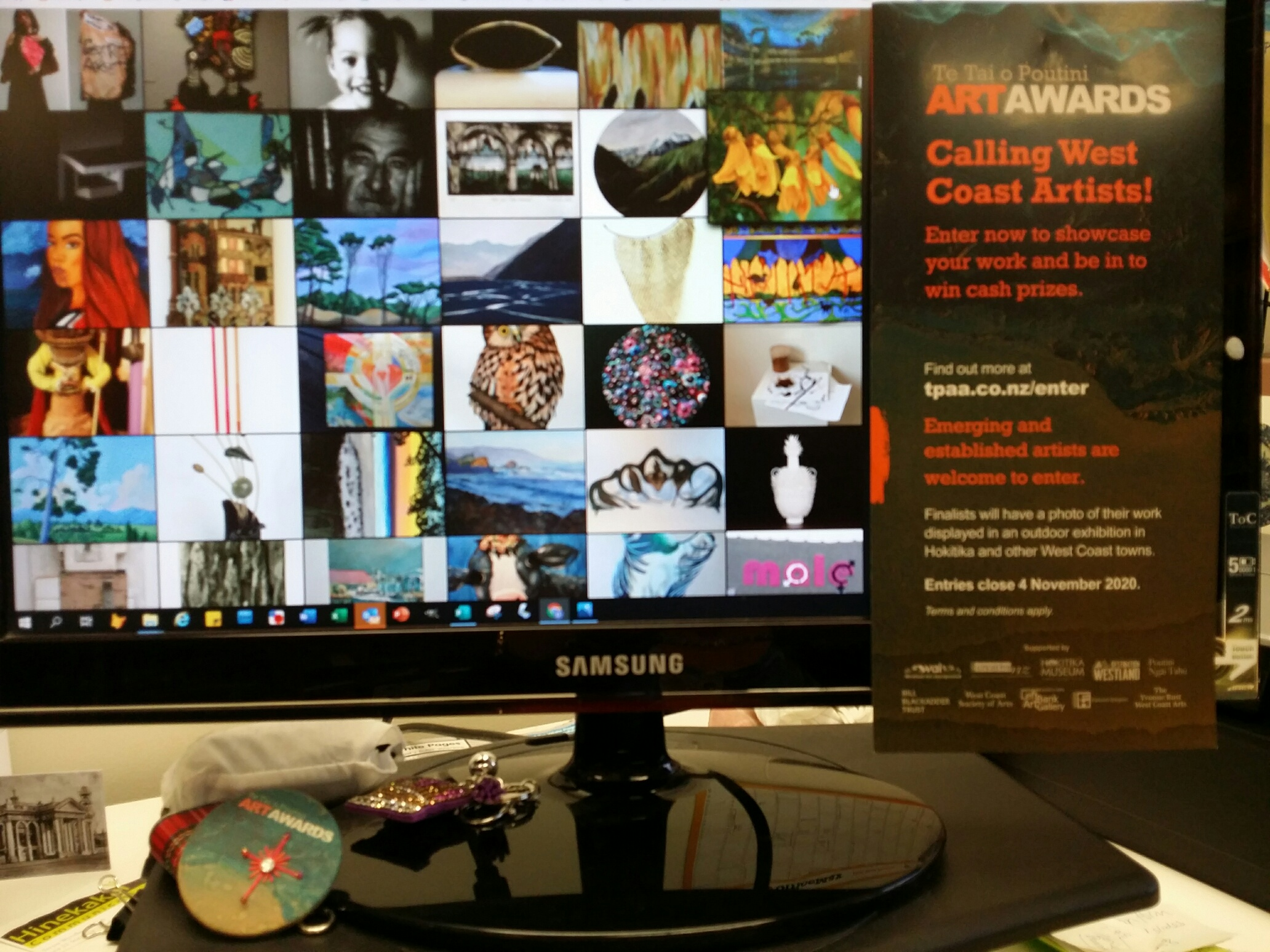 Artwork entries displayed on a computer screen
